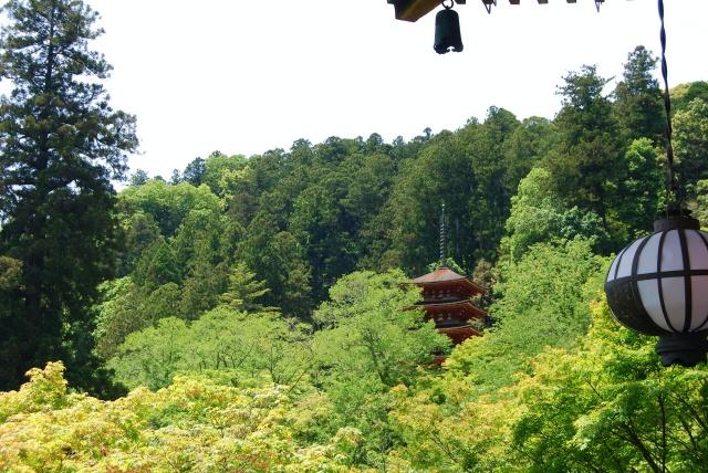 奈良県、大和国長谷寺の五重塔