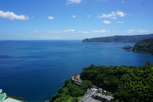 静岡県、熱海城の展望台からの景色